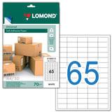 Этикетка самоклеящаяся 38х21,2 мм, 65 этикеток, белая, 70 г/м<sup>2</sup>, 50 листов, LOMOND, 2100215