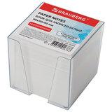 Блок для записей BRAUBERG в подставке прозрачной, куб 9х9х9 см, белый, белизна 95-98%, 122223