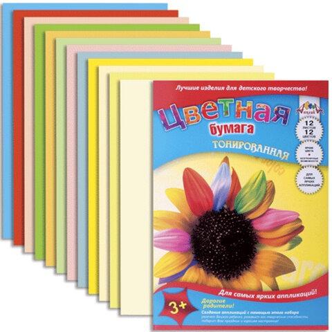 Цветная бумага, А4, тонированная, 12 листов, 12 цветов, АППЛИКА, 220х300 мм, С0305