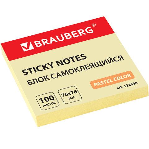 Блок самоклеящийся (стикеры) BRAUBERG, ПАСТЕЛЬНЫЙ, 76х76 мм, 100 листов, желтый, 122690