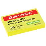 Блок самоклеящийся (стикеры), BRAUBERG, НЕОНОВЫЙ, 76х51 мм, 90 листов, желтый, 122699