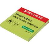 Блок самоклеящийся (стикеры), BRAUBERG, НЕОНОВЫЙ, 76х76 мм, 90 листов, зеленый, 122703