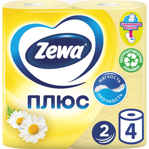 Бумага туалетная 2-х слойная, 4 рулона (4х23 м), аромат ромашки, ZEWA Plus, 144065