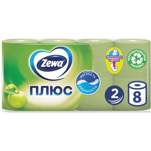 Бумага туалетная 2-х слойная, 8 рулонов (8х23 м), аромат яблока, ZEWA Plus, 144006