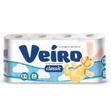 Бумага туалетная бытовая, спайка 8 шт., 2-х слойная (8х17,5 м), VEIRO Classic, белая, 5с28