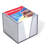 Блок для записей ERICH KRAUSE в подставке прозрачной, куб 9х9х9, белый, 4458