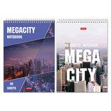 """Блокнот А5, 80 л., гребень, жесткая подложка, HATBER, """"Megacity"""" (""""Город""""), 145х205 мм, 80Б5С1гр, B46180"""