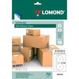 Этикетка самоклеящаяся для CD, D117/18 мм, 2 этикетки, белая, 70 г/м<sup>2</sup>, 25 листов, LOMOND, 2101013