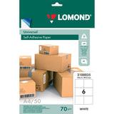 Этикетка самоклеящаяся 105х99 мм, 6 этикеток, белая, 70 г/м<sup>2</sup>, 50 листов, LOMOND, 2100035