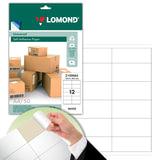 Этикетка самоклеящаяся 105х48 мм, 12 этикеток, белая, 70 г/м<sup>2</sup>, 50 листов, LOMOND, 2100065