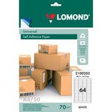 Этикетка самоклеящаяся 48,5х16,9 мм, 64 этикетки, белая, 70 г/м<sup>2</sup>, 50 листов, LOMOND, 2100205