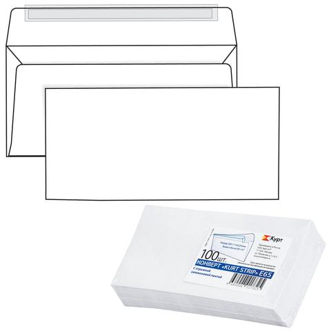 Конверт Е65, комплект 100 шт., отрывная полоса STRIP, белый, 110х220 мм, Е65.10.100С