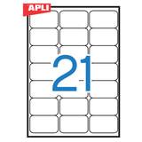 Этикетка самоклеящаяся APLI на листе формата А4, 21 этикетка, размер 63,5х38,1 мм, белая, 100 л., 02414