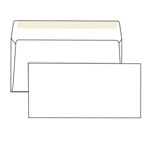 Конверты Е65, комплект 1000 шт., клей декстрин, белые, 110х220 мм