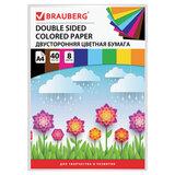 Цветная бумага А4 ТОНИРОВАННАЯ В МАССЕ, 40 листов 8 цветов, склейка, 80 г/м<sup>2</sup>, BRAUBERG, 210х297 мм, 124714