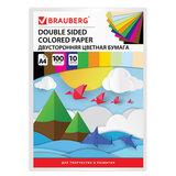 Цветная бумага А4 ТОНИРОВАННАЯ В МАССЕ, 100 листов 10 цветов, склейка, 80 г/м<sup>2</sup>, BRAUBERG, 210х297 мм, 124715