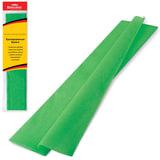 Цветная бумага крепированная BRAUBERG, стандарт, растяжение до 65%, 25 г/м<sup>2</sup>, европодвес, зеленая, 50х200 см, 124731