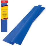 Цветная бумага крепированная BRAUBERG, стандарт, растяжение до 65%, 25 г/м<sup>2</sup>, европодвес, синяя, 50х200 см, 124734