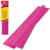 Цветная бумага крепированная BRAUBERG, стандарт, растяжение до 65%, 25 г/м<sup>2</sup>, европодвес, темно-розовая, 50х200 см, 124736