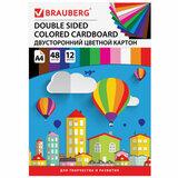 Картон цветной А4 ТОНИРОВАННЫЙ В МАССЕ, 48 листов 12 цветов, склейка, 180 г/м<sup>2</sup>, BRAUBERG, 210х297 мм, 124744