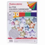 """Картон цветной А4 """"СУПЕРБЛЕСТКИ"""", 5 листов 5 цветов, 280 г/м<sup>2</sup>, BRAUBERG, 124748"""