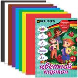 """Цветной картон, А3, 8 листов, 8 цветов, BRAUBERG """"Kids series"""", """"Веселые человечки"""", 297х420 мм, 124768"""