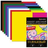 Цветная бумага и цветной картон, А4, мелованные, 8+8 листов, 8+8 цветов, BRAUBERG, 200х290 мм, 124805