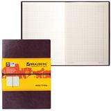 "Бизнес-блокнот BRAUBERG, А5, 148х218 мм, ""Western"", гладкий кожзам, резинка, клетка, 128 л., коричневый, 125238"