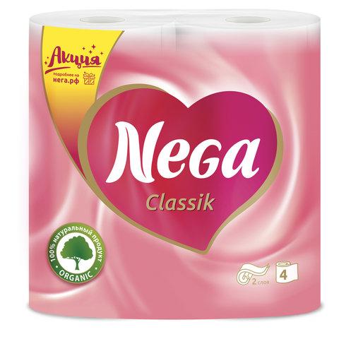Бумага туалетная бытовая, спайка 4 шт., 2-х слойная (4х17,5 м), NEGA Classic (