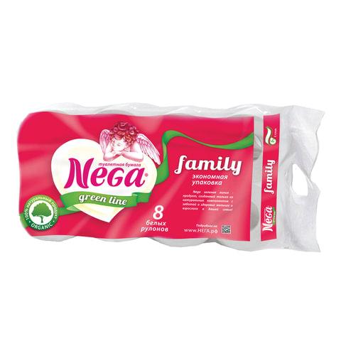"""Бумага туалетная бытовая, спайка 8 шт., 2-х слойная (8х19,8 м), NEGA Family (""""Нега""""), белая"""