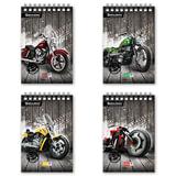 """Блокнот А5, 80 л., гребень, мелованный картон обложка, клетка, BRAUBERG, """"Мотоциклы"""", 4 вида, 146х206 мм, 125694"""
