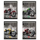 """Блокнот А6, 48 л., гребень, мелованный картон обложка, клетка, BRAUBERG, """"Мотоциклы"""", 4 вида, 108х145 мм, 125696"""