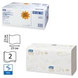 Полотенца бумажные 200 шт., TORK (Система H3) Premium, комплект 15 шт., 2-слойные, белые, 23х23, ZZ(V), 100278
