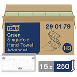 Полотенца бумажные, 250 шт., TORK (Система H3) Advanced, комплект 15 шт., 2-слойные, зеленые, 25х23, ZZ(V), 290179