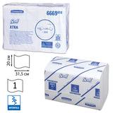 Полотенца бумажные 240 шт., KIMBERLY-CLARK Scott, комплект 15 шт., Xtra, белые, 31,5х20 см, Interfold, диспенсер 601533, АРТ. 6669