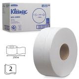 Бумага туалетная 250 м, KIMBERLY-CLARK Kleenex, комплект 6 шт., Миди Jumbo, 2-х слойная, белая, диспенсер 601543, АРТ. 8515