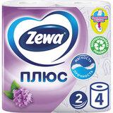 Бумага туалетная бытовая, спайка 4 шт., 2-х слойная (4х23 м), ZEWA Plus, аромат сирени, 144108