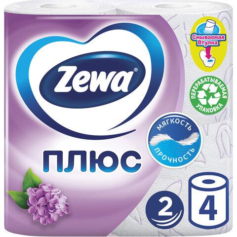 Бумага туалетная 2-х слойная, 4 рулона (4х23 м), аромат сирени, ZEWA Plus, 144108