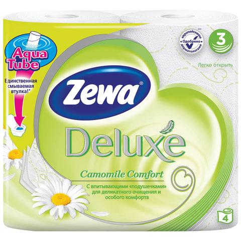 Бумага туалетная бытовая, спайка 4 шт., 3-х слойная (4х19 м), ZEWA Delux, аромат ромашки, 3275