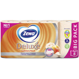 Бумага туалетная бытовая, спайка 8 шт., 3-х слойная (8х19 м), ZEWA Delux, аромат персика, 5363