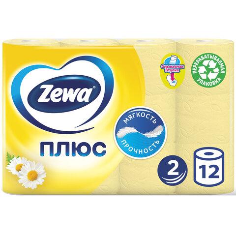 Бумага туалетная 2-х слойная, 12 рулонов (12х23 м), аромат ромашки, ZEWA Plus, 144089