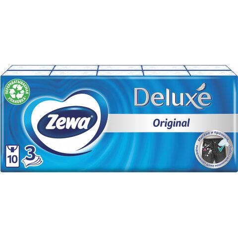 Платки носовые ZEWA Deluxe, 3-х слойные, 10 шт. х (спайка 10 пачек), 51174