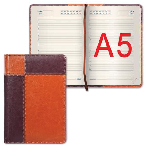 """Ежедневник GALANT недатированный, А5, 148х218 мм, """"Kassel"""", 160 л., комбинированная кожа, коричневый/светло-коричневый, 126273"""