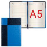 "Ежедневник GALANT недатированный, А5, 148х218 мм, ""Kassel"", 160 л., комбинированная кожа, синий/голубой, 126274"