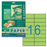 Этикетка самоклеящаяся LOMOND на листе формата А4, 16 этикеток, размер 105х37 мм, зеленая, 50 л., 2120125