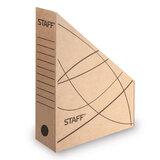 Лоток вертикальный для бумаг, микрогофрокартон, 75 мм, до 700 листов, бурый, STAFF, 126514
