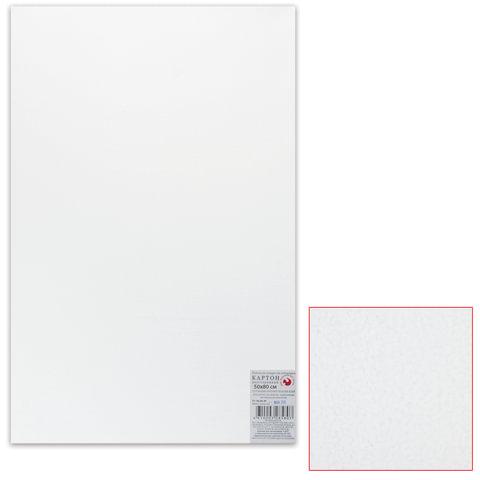 Картон белый грунтованный для живописи, 50х80 см, двусторонний, толщина 2 мм, акриловый грунт