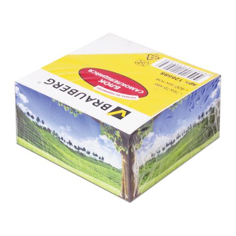 Блок самоклеящийся (стикер), BRAUBERG, 76х76 мм, 400 л., белый, печать по периметру, дизайн ассорти, 126688