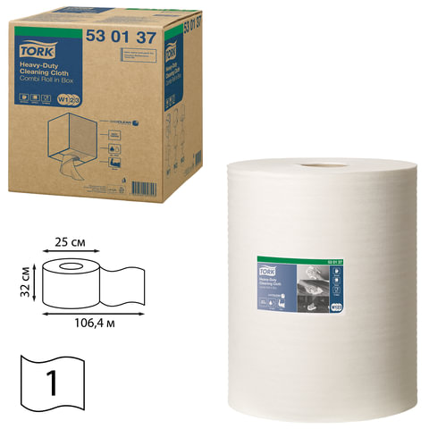 Протирочный нетканый материал TORK (Система W1, W2, W3) Premium, 280 л. в рулоне, 38х32 см, 530137