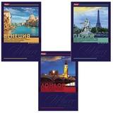 """Блокнот А6, 40 л., склейка, обложка ламинированная, HATBER, """"Красочные города"""", 97х155 мм, 40Б6B1к, B186824"""
